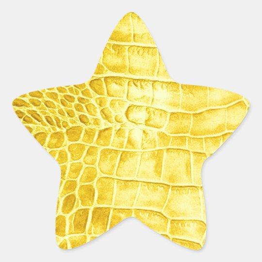 Yellow crocodile leather star sticker