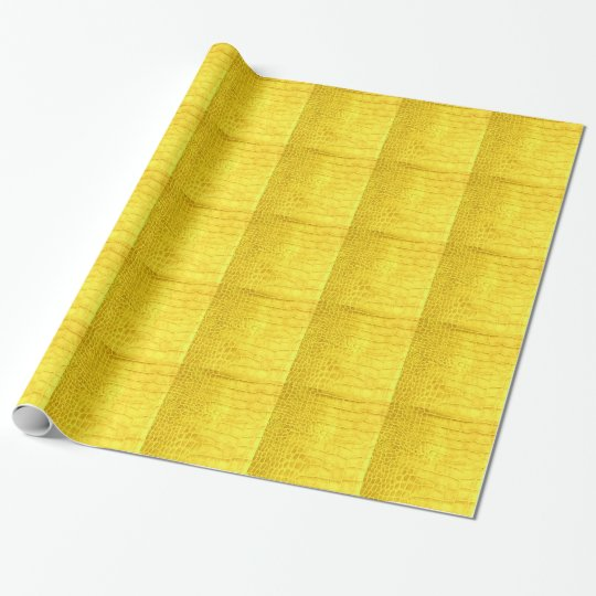 Yellow crocodile leather wrapping paper