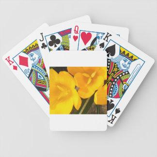 yellow crocus design bicycle playing cards
