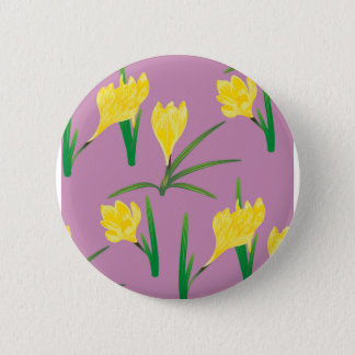 Yellow Crocus Flowers 2 Inch Round Button
