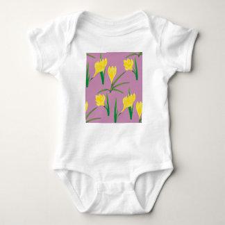 Yellow Crocus Flowers Baby Bodysuit