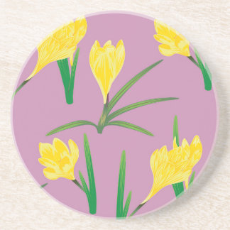 Yellow Crocus Flowers Coaster