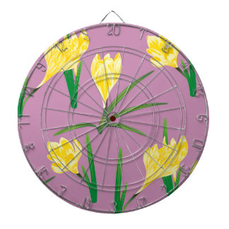 Yellow Crocus Flowers Dart Board