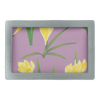 Yellow Crocus Flowers Rectangular Belt Buckles