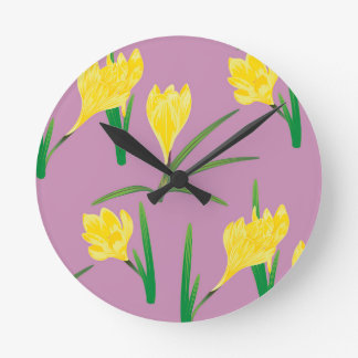 Yellow Crocus Flowers Round Clock