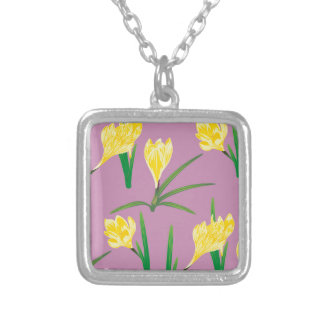 Yellow Crocus Flowers Silver Plated Necklace