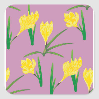 Yellow Crocus Flowers Square Sticker