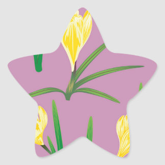 Yellow Crocus Flowers Star Sticker
