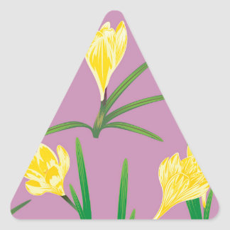 Yellow Crocus Flowers Triangle Sticker