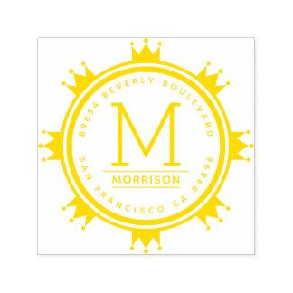 Yellow Crown Circle | Monogram Return Address Self-inking Stamp