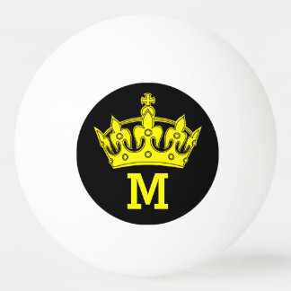 Yellow Crown Monogram Personalized Ping Pong Ball