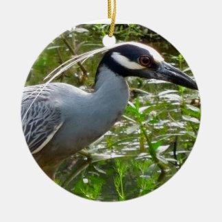 Yellow Crown Night Heron Round Ceramic Ornament