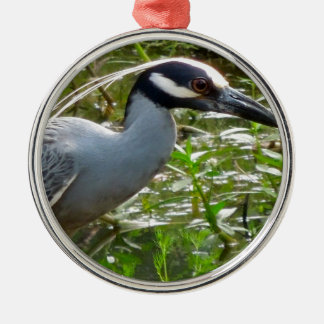 Yellow Crown Night Heron Silver-Colored Round Ornament