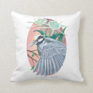Yellow-Crowned Night Heron and Spider Lilies Throw Pillow