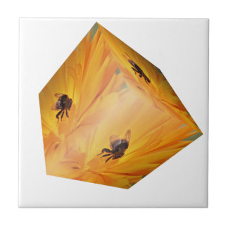 Yellow cube with bee insect and flower ceramic tile