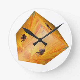 Yellow cube with bee insect and flower clocks