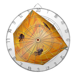 Yellow cube with bee insect and flower dartboard