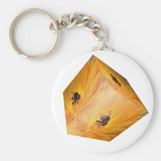 Yellow cube with bee insect and flower keychain