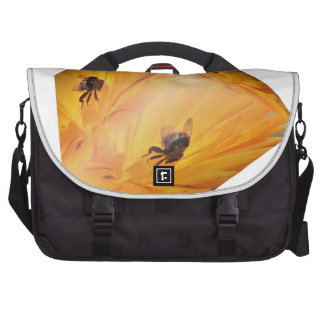 Yellow cube with bee insect and flower laptop commuter bag