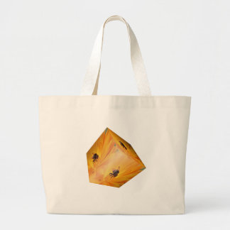 Yellow cube with bee insect and flower large tote bag