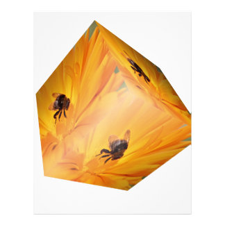 Yellow cube with bee insect and flower letterhead
