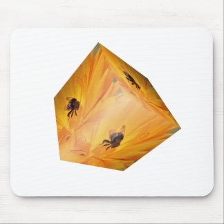 Yellow cube with bee insect and flower mouse pad