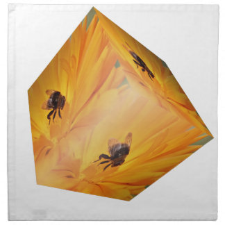 Yellow cube with bee insect and flower napkin