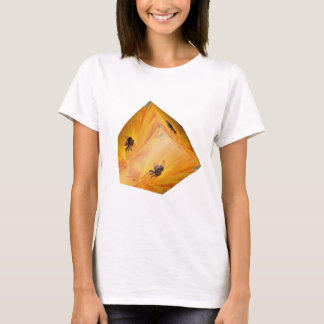 Yellow cube with bee insect and flower T-Shirt