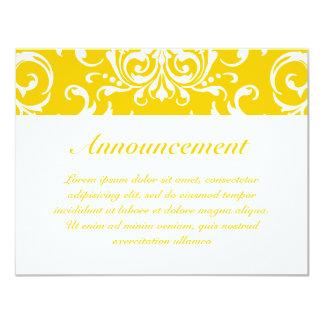 "Yellow + Custom Color Damask Pattern 4.25"" X 5.5"" Invitation Card"
