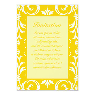 "Yellow + Custom Color Damask Pattern 5"" X 7"" Invitation Card"