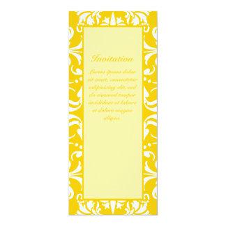 "Yellow + Custom Color Damask Pattern 4"" X 9.25"" Invitation Card"