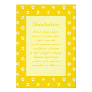"Yellow + Custom Color Flower Dot 5"" X 7"" Invitation Card"