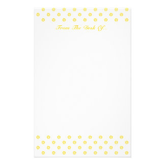 Yellow + Custom Color Flower Dot Customized Stationery