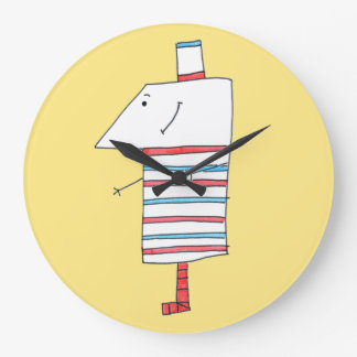 Yellow cute monster clock. large clock