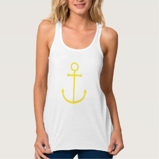 Yellow Cute Preppy Nautical Anchor Tank Top