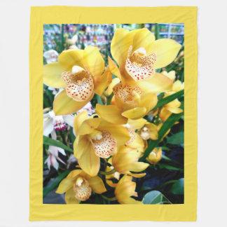 Yellow Cymbidium Orchids Fleece Blanket