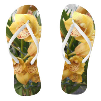 Yellow Cymbidium Orchids Flip Flops