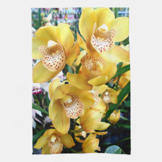 Yellow Cymbidium Orchids Kitchen Towel