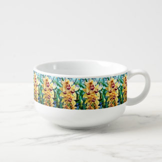 Yellow Cymbidium Orchids Soup Bowl With Handle