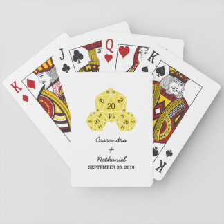 Yellow D20 Dice Wedding Playing Cards