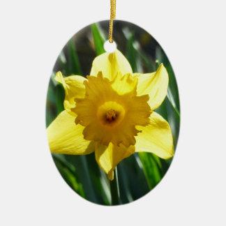 Yellow Daffodil 02.2_rd Ceramic Ornament