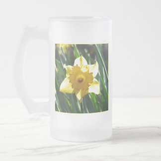 Yellow Daffodil 02.3. Frosted Glass Beer Mug