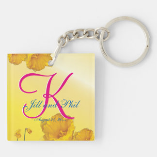 Yellow Daffodil 3d Monogram Double-Sided Square Acrylic Keychain