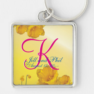 Yellow Daffodil 3d Monogram Silver-Colored Square Keychain