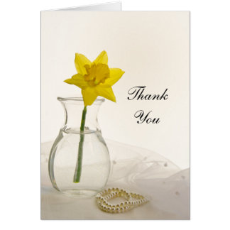 Yellow Daffodil and Pearls Wedding Thank You Card