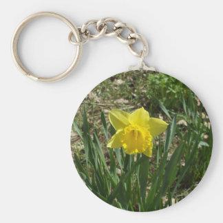 Yellow Daffodil Basic Round Button Keychain