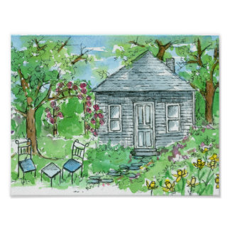 Yellow Daffodil Cottage Watercolor House Poster