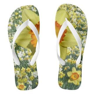 Yellow Daffodil Flip Flops
