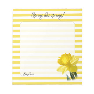 Yellow Daffodil Floral Photography Stripes Notepad