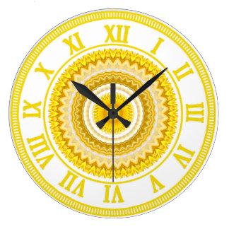 Yellow Daffodil Mandala Pattern Large Clock